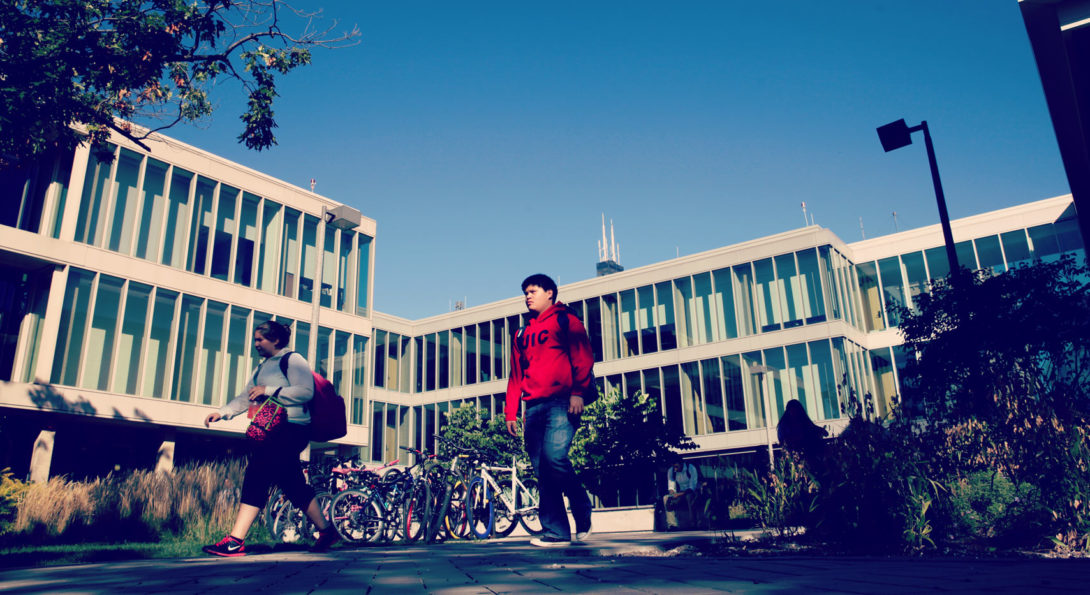 Students walking in front of Buildings